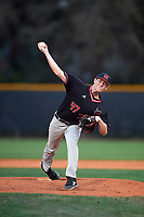 Rutgers Scarlet Knights relief pitcher Ryan Wares (47) delivers a pitch delivers a pitch during a game against the Indiana Hoosiers on February 23, 2018 at North Charlotte Regional Park in Port Charlotte, Florida.  Indiana defeated Rutgers 7-6.  (Mike Janes/Four Seam Images)