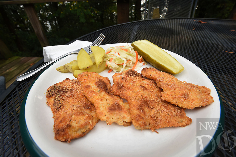 NWA Democrat-Gazette/FLIP PUTTHOFF <br /> Baked fish is a delcious and healty way to enjoy      July 20 2018   the catch of the day. Baked parmesan fish, shown here using crappie filets, is one of many tasty recipes.