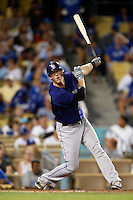D.J. LeMahieu #9 of the Colorado Rockies bats against the Los Angeles Dodgers at Dodger Stadium on September 29, 2012 in Los Angeles, California. Los Angeles defeated Colorado 3-0. (Larry Goren/Four Seam Images)