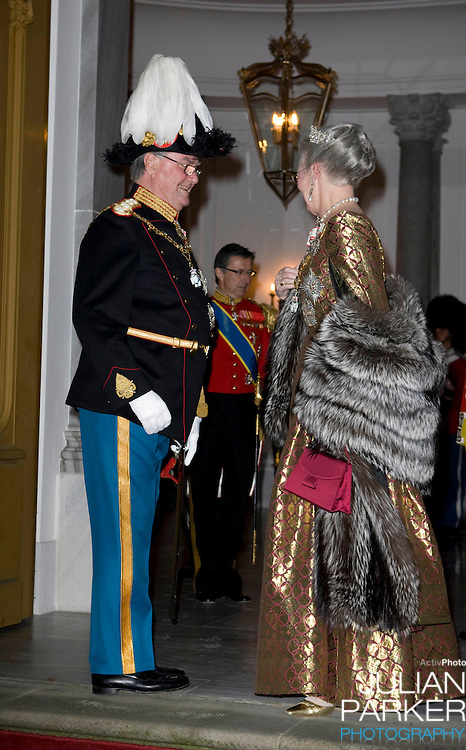 Queen Margrethe of Denmark  & Prince Henrik  attend the Traditional New Year Gala Dinner, at Amalienborg Palace in Copenhagen Denmark