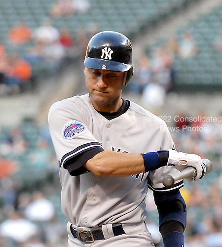 Baltimore, MD - May 28, 2008 -- New York Yankees shortstop Derek Jeter (2) shows frustration after striking out in the third inning against the Baltimore Orioles at Oriole Park at Camden Yards in Baltimore, MD on Wednesday , May 28, 2008..Credit: Ron Sachs / CNP.(RESTRICTION: NO New York or New Jersey Newspapers or newspapers within a 75 mile radius of New York City)