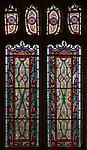 Stained glass window Saint Botolph church, North Cove, Suffolk, England, UK nineteenth century geometric patternNorth Cove