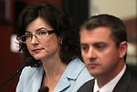 Heidi Gansert, chief of staff to Nevada Gov. Brian Sandoval, and state budget director Andrew Clinger answer budget questions on the Senate floor on Friday, April 22, 2011, at the Legislature in Carson City, Nev. .Photo by Cathleen Allison