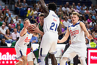Real Madrid's player Jaycee Carroll, Othello Hunter and Luka Doncic and Unicaja Malaga's player Adam Waczynski during match of Liga Endesa at Barclaycard Center in Madrid. September 30, Spain. 2016. (ALTERPHOTOS/BorjaB.Hojas) /NORTEPHOTO.COM