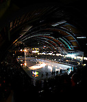6 January 2007: University of Vermont pre-game introductions take place at Gutterson Fieldhouse in Burlington, Vermont prior to a game between the University of New Hampshire Wildcats and the University of Vermont Catamounts. Gutterson Fieldhouse opened in 1963 and also served as a pre-season professional hockey training facility. Gutterson is where NHL all-time leading scorer Wayne Gretzky started his last two seasons playing for the New York Rangers. The weekend series against New Hampshire marked a record setting 49th consecutive sellout at the Gut...Mandatory Photo Credit: Ed Wolfstein Photo.<br />