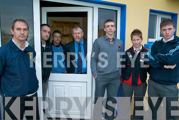 OUTRAGE: At the Killorglin Soccer Club clubrooms where windows were smashed and vandalised last week, front l-r: Philip Delaney (Underage Soccer Chairman), Chris O'Brien, Michael Carey, Colm Brennan. Back l-r: Michael Carey (U-14 coach), Cllr Johnny O'Connor, Batty Foley (Treasurer).   Copyright Kerry's Eye 2008