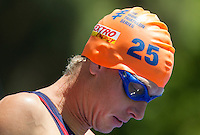 02 JUN 2013 - MADRID, ESP - Jarrod Shoemaker (USA)  of the USA waits for the start of the swim at the men's ITU 2013 World Triathlon Series round in Casa de Campo, Madrid, Spain <br /> (PHOTO (C) 2013 NIGEL FARROW)