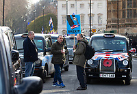 Licensed taxi drivers block whitehall, Parliament Square and surrounding areas.They are unhappy with TFL and the Mayor of London for excluding them from certain streets in London .