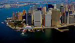 Aerial view of Ferry Terminals, Battery Park, Manhattan, New York NY