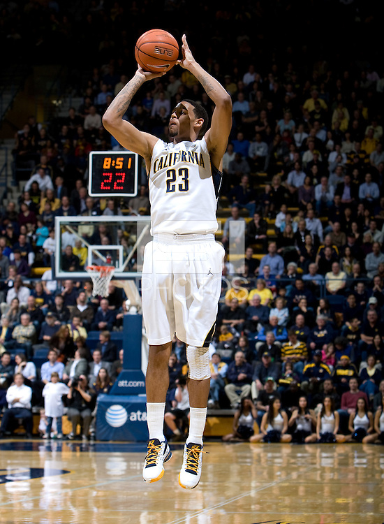 Allen Crabbe of California shoots the ball during the game against Oregon at Haas Pavilion in Berkeley, California on February 16th, 2012.  California defeated Oregon, 86-83.