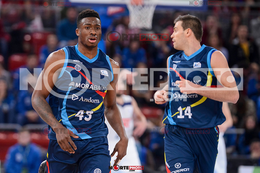 Morabanc Andorra's Thanasis Antetokounmpo and Oliver Stevic during Quarter Finals match of 2017 King's Cup at Fernando Buesa Arena in Vitoria, Spain. February 16, 2017. (ALTERPHOTOS/BorjaB.Hojas) /Nortephoto.com