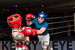 Charlie Collins, Kenmare, in Blue tankles with Bob Byrne, Tralee in the ring, last Saturday night in the Ashe hotel, Tralee in a charity boxing night in aid of Recovery Haven organised by St Margarets boxing club.