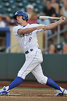 Omaha Storm Chasers outfielder Will Myers #8 swings at the ball during the game against the Reno Aces at Werner Park on August 3, 2012 in Omaha, Nebraska.(Dennis Hubbard/Four Seam Images)
