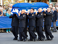 Quebec City, September 1, 2007 ? The coffin of AndrÈe Boucher is carried from the City Hall where she was exposed to the Notre Dame Basilica in Quebec City September 1, 2007.  Boucher, the reigning Mayor of Quebec City, died Friday August 24 at 70 years of age.<br /> <br /> PHOTO :  Francis Vachon - Agence Quebec Presse