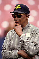 Former Chicago Cub and HOF Ernie Banks at Anaheim Stadium in Anaheim,California during the 1996 season. (Larry Goren/Four Seam Images)