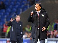 Wales manager Chris Coleman gives instructions to his players during the international friendly soccer match between Wales and Panama at Cardiff City Stadium, Cardiff, Wales, UK. Tuesday 14 November 2017.