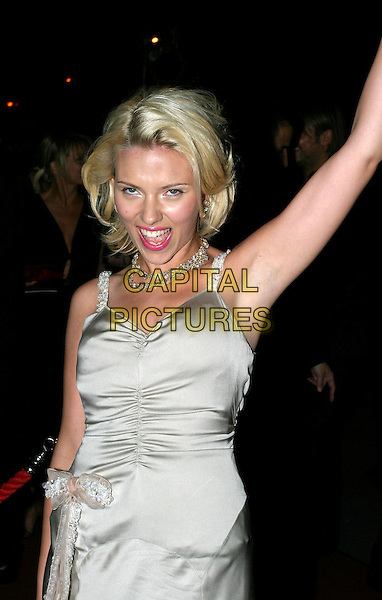 SCARLETT JOHANSSON.Best Actress In A Leading Role Award winner.Bafta Awards - British Academy Awards.15 February 2004.half length, half-length, armpit.www.capitalpictures.com.sales@capitalpictures.com.© Capital Pictures.