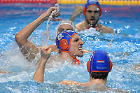 8 NISPELING Jesse Netherlands celebrates <br />  <br /> Budapest 14/01/2020 Duna Arena <br /> ROMANIA (white caps) Vs. NETHERLANDS (blue caps) Men  <br /> XXXIV LEN European Water Polo Championships 2020<br /> Photo  © Andrea Staccioli / Deepbluemedia / Insidefoto