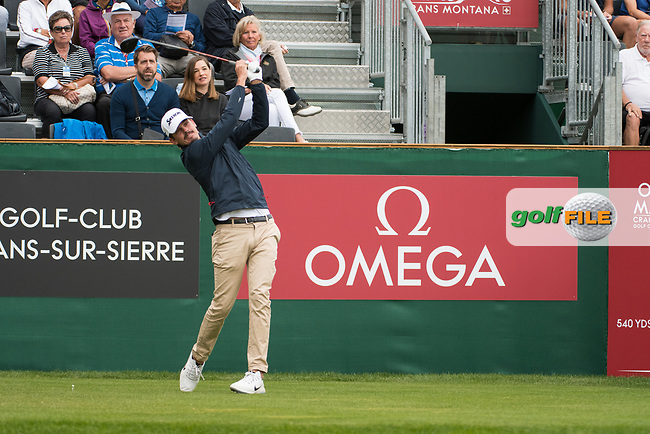 Pedro Figueiredo (POR) in action on the 1st hole during final round at the Omega European Masters, Golf Club Crans-sur-Sierre, Crans-Montana, Valais, Switzerland. 01/09/19.<br /> Picture Stefano DiMaria / Golffile.ie<br /> <br /> All photo usage must carry mandatory copyright credit (© Golffile | Stefano DiMaria)