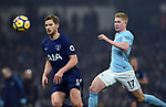 Jan Vertonghen of Tottenham Hotspur Kevin De Bruyne of Manchester City is challenged by during the premier league match at the Etihad Stadium, Manchester. Picture date 16th December 2017. Picture credit should read: Robin ParkerSportimage