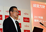 June 6, 2017, Tokyo, Japan - Japan's computer giant Fujitsu president Tatsuya Tanaka announces the company's business strategy at the Fujitsu headquarters in Tokyo on Tuesday, June 6, 2017. Fujitsu is still struggling to integrate personal computer (PC) businesses with China's Lenovo.   (Photo by Yoshio Tsunoda/AFLO) LwX -ytd-