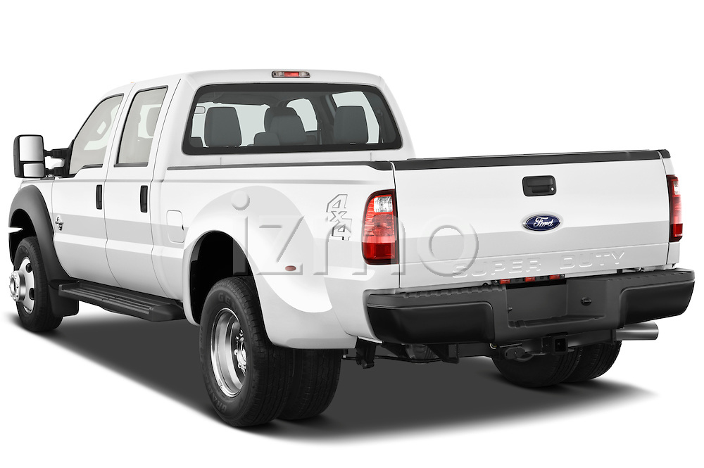 Rear three quarter view of a 2011 Ford F450 Crew Cab