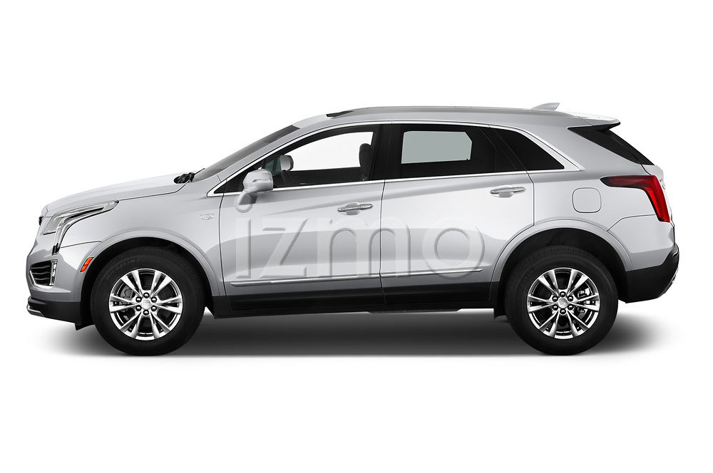 Car Driver side profile view of a 2020 Cadillac XT5 Premium-Luxury 5 Door SUV Side View
