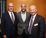 Bruce E. Whitacre, Keegan-Michael Key and Greg Hurst attend the Theatre Forward Broadway Roundtable on February 2, 2018  at UBS in New York City.