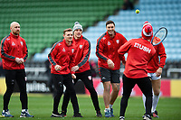 Gloucester players including Willi Heinz, Callum Braley, Jason Woodward and Matt Banahan play games prior to the match. Gallagher Premiership match, between Harlequins and Gloucester Rugby on March 10, 2019 at the Twickenham Stoop in London, England. Photo by: Patrick Khachfe / JMP