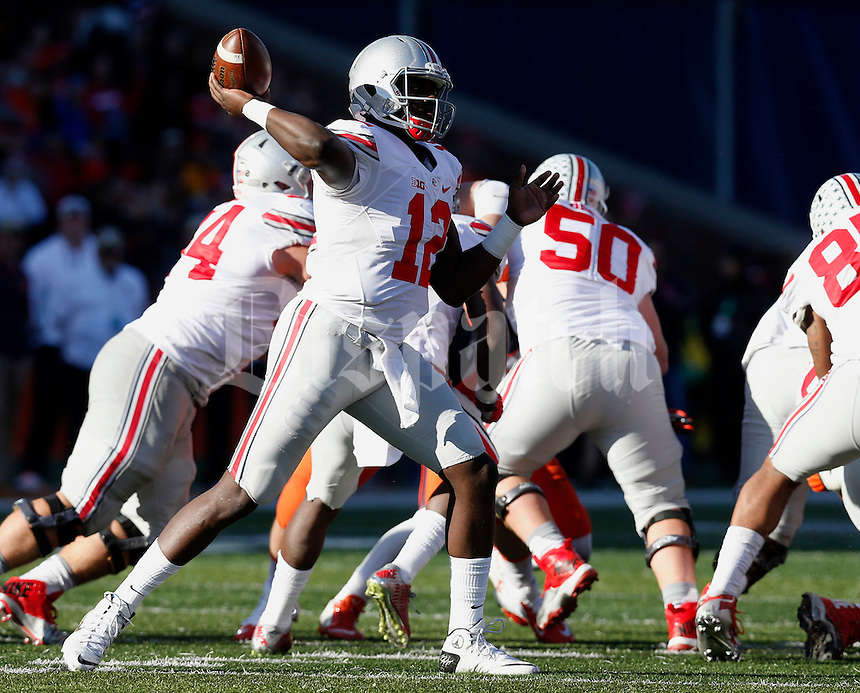 Ohio State Buckeyes quarterback Cardale Jones (12) goes for a pass in the second half of their game at Memorial Stadium in Champaign, Ill on November 14, 2015. (Columbus Dispatch photo by Brooke LaValley)