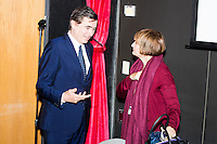Philippe Douste-Blazy speaks with Baroness Tessa Jowell (right) after speaking on a panel with her and Luiz Odorico Monteiro de Andrade (not pictured) during Douste-Blazy's visit to Harvard University's T. H. Chan School of Public Health in Boston, Massachusetts, USA. The visit is part of his campaign to become Director General of the World Health Organization. Jowell has served in the UK as a member of parliament and held various ministerial positions. Odorico is a current member of the Brazilian parliament and has served Minister of Health for numerous districts in the country. During the visit, Doutse-Blazy met with professors, students, and visiting scholars, including former Ministers of Health from England and Brazil. Doutse-Blazy is Under-Secretary-General and Special Adviser on Innovative Financing for Development in the United Nations and chairman of UNITAID. He served as Minister of Health, Minister of Culture, and Foreign Minister in the French government and was also mayor of Lourdes and Toulouse.