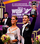 Simone Segatori and Annette Sudol of Germany celebrate winning the WDSF GrandSlam Standard on the Day 2 of the WDSF GrandSlam Hong Kong 2014 on June 01, 2014 at the Queen Elizabeth Stadium Arena in Hong Kong, China. Photo by AItor Alcalde / Power Sport Images