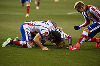Atletico de Madrid´s Fernando Torres, Antoine Griezmann and Arda Turan during 2014-15 Spanish King Cup match between Atletico de Madrid and Barcelona at Vicente Calderon stadium in Madrid, Spain. January 28, 2015. (ALTERPHOTOS/Luis Fernandez) /nortephoto.com<br />