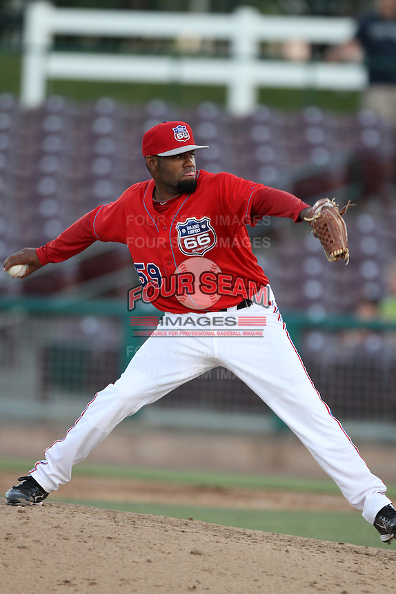 Lay Batista #59 of the Inland Empire 66'ers pitches against the Lake Elsinore Storm at San Manuel Stadium on July 15, 2012 in San Bernardino, California. Inland Empire defeated Lake Elsinore 4-3. (Larry Goren/Four Seam Images)