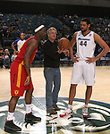 An honorary tip-off from before Friday night's Reno Bighorns minor league basketball game, Feb. 11, 2011, against the Fort Wayne Mad Ants at the Reno Events Center in Reno, Nev. .Photo by Cathleen Allison