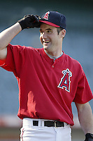 Adam Kennedy of the Los Angeles Angels before a 2002 MLB season game at Angel Stadium, in Anaheim, California. (Larry Goren/Four Seam Images)
