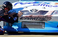 Denny Hamlin makes a pit stop during the Aaron's 499 at Talladega Superspeedway, Talladega, AL, April 17, 2011.  (Photo by Brian Cleary/www.bcpix.com)