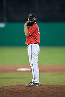 Batavia Muckdogs relief pitcher Jameson McGrane (45) looks in for the sign during a game against the West Virginia Black Bears on July 3, 2018 at Dwyer Stadium in Batavia, New York.  Batavia defeated West Virginia 5-4.  (Mike Janes/Four Seam Images)