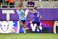 Orlando, FL - Saturday September 10, 2016: Tasha Kai, Josee Belanger during a regular season National Women's Soccer League (NWSL) match between the Orlando Pride and Sky Blue FC at Camping World Stadium.
