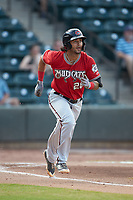 Eddie Silva (28) of the Carolina Mudcats hustles down the first base line against the Winston-Salem Dash at BB&T Ballpark on June 1, 2019 in Winston-Salem, North Carolina. The Mudcats defeated the Dash 6-3 in game one of a double header. (Brian Westerholt/Four Seam Images)
