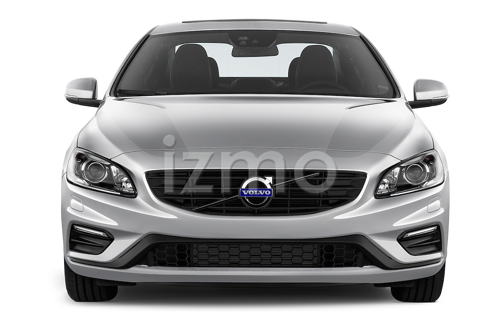 Car photography straight front view of a 2016 Volvo S60 R-Design 4 Door Sedan Front View