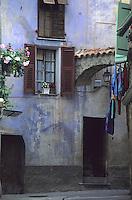 France/06/Alpes-Maritimes/Arrière pays niçois/Sospel: Détail maison et fenêtre