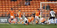 Blackpool's Ben Heneghan clears a goalmouth scramble<br /> <br /> Photographer Stephen White/CameraSport<br /> <br /> The EFL Sky Bet League One - Blackpool v Burton Albion - Saturday 24th November 2018 - Bloomfield Road - Blackpool<br /> <br /> World Copyright © 2018 CameraSport. All rights reserved. 43 Linden Ave. Countesthorpe. Leicester. England. LE8 5PG - Tel: +44 (0) 116 277 4147 - admin@camerasport.com - www.camerasport.com