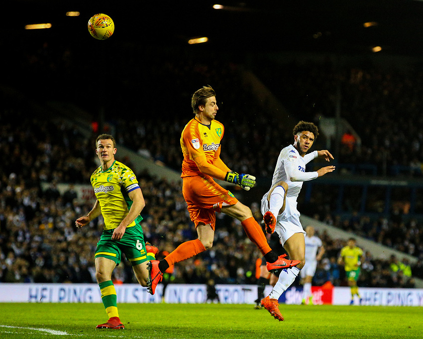 Leeds United's Tyler Roberts lobs Norwich City's Tim Krul<br /> <br /> Photographer Alex Dodd/CameraSport<br /> <br /> The EFL Sky Bet Championship - Leeds United v Norwich City - Saturday 2nd February 2019 - Elland Road - Leeds<br /> <br /> World Copyright © 2019 CameraSport. All rights reserved. 43 Linden Ave. Countesthorpe. Leicester. England. LE8 5PG - Tel: +44 (0) 116 277 4147 - admin@camerasport.com - www.camerasport.com