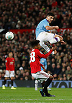 Rodrigo of Manchester City gets high above Angel Gomes of Manchester United during the Carabao Cup match at Old Trafford, Manchester. Picture date: 7th January 2020. Picture credit should read: Darren Staples/Sportimage