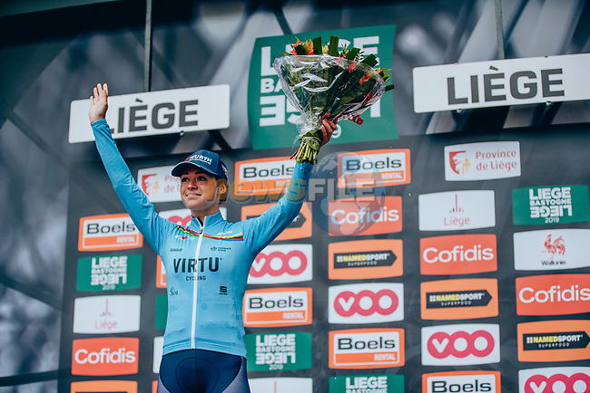 Sofia Bertizzolo (ITA) Team Virtu Cycling continues to lead the youth ranking in the UCI Womens World Tour at the end of the 2019 ège-Bastogne-Liège Femmes, running 138.5km from Bastogne to Liege, Belgium. 28th April 2019<br /> Picture: ASO/Thomas Maheux | Cyclefile<br /> All photos usage must carry mandatory copyright credit (© Cyclefile | ASO/Thomas Maheux)