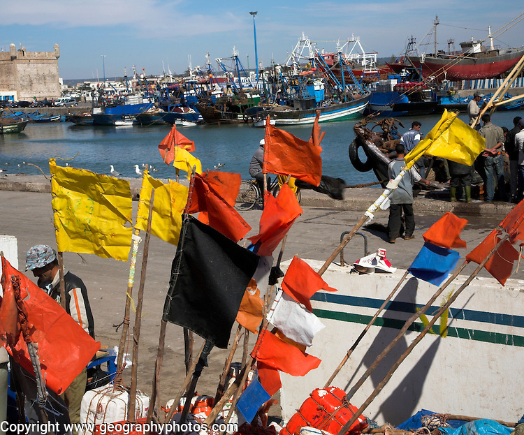 Colourful lobster pot flags in fishing harbour Essaouira, Morocco, north Africa