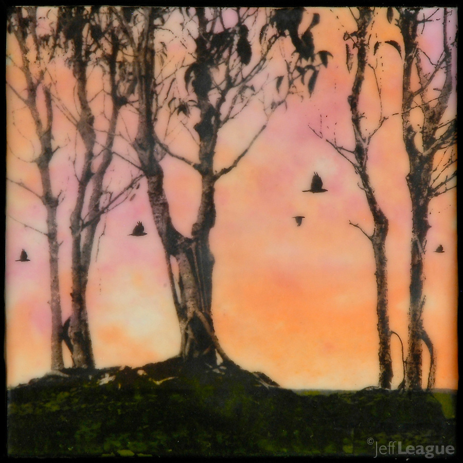 Photo transfer mixed media encaustic painting of birds flying through trees at sunset