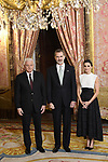 King Felipe VI of Spain (C) and Queen Letizia of Spain (R) receive Prime Minister of Montenegro Dusko Markovic (L) because of the United Nations conference for the Climate Summit 2019 (COP25) at the Royal Palace. December 2,2019. (ALTERPHOTOS/Pool/Carlos Alvarez)