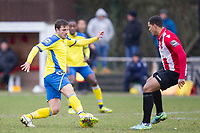 Joseph Staunton of Haringey Borough steps inside the attention of Leon McKenzie of AFC Hornchurch during AFC Hornchurch vs Haringey Borough, Bostik League Division 1 North Football at Hornchurch Stadium on 10th February 2018